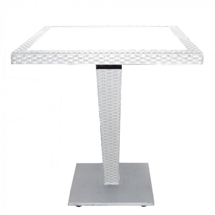 Градинска маса от PVC ратан бяла 90х90см