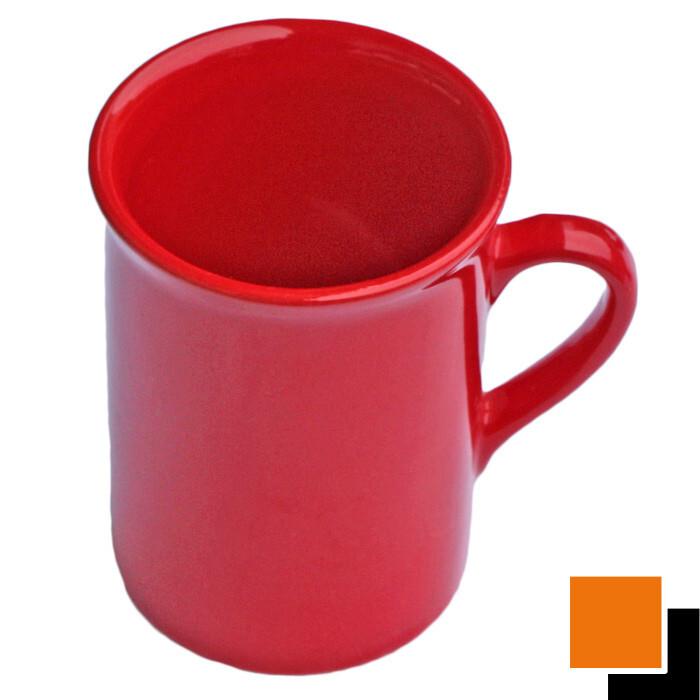 Чаша керамична  с дръжка червена