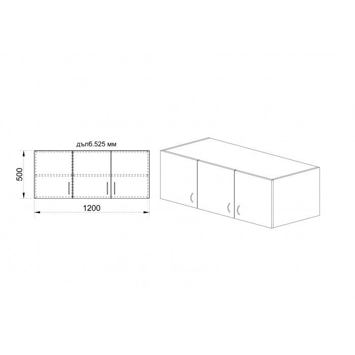 Надстройка за гардероб City 1005 / Венге и Астра