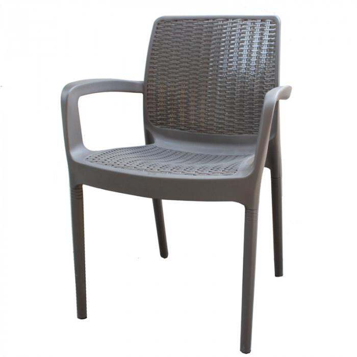 Градински стол от PVC ратан с цвят антрацит 84x57x52см
