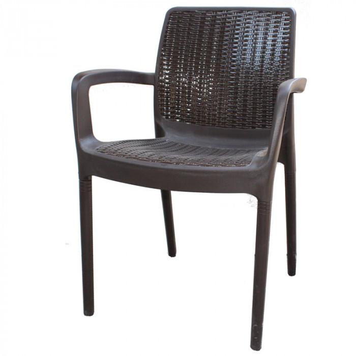 Градински стол от PVC ратан кафяв 84x57x52см