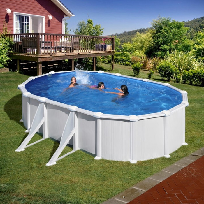 Сглобяем басейн с метална стена / овал 610х375х132см