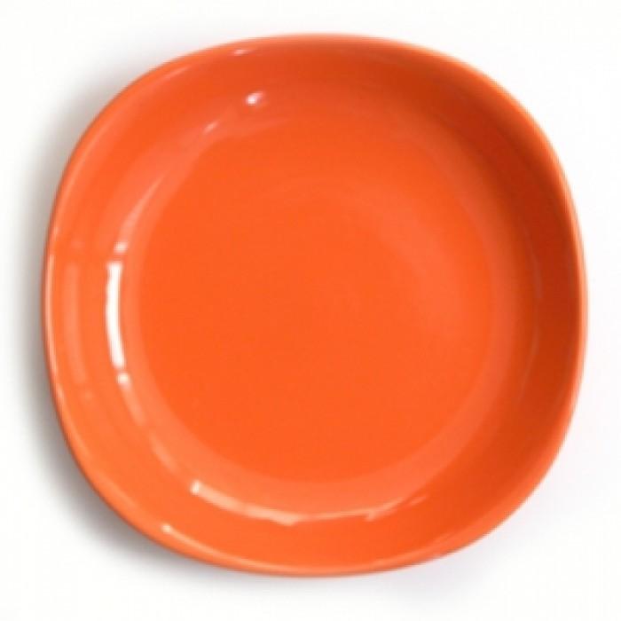 Квадратна керамична чиния 22см дълбока оранж