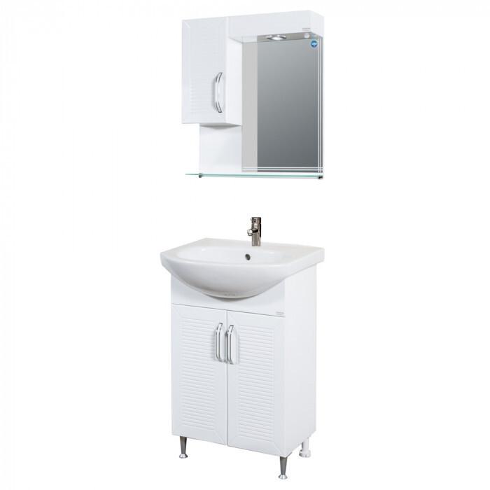Горен PVC шкаф за баня с огледало и LED осветление Макена Орфей 55х60х15см