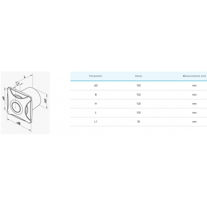 Вентилатор Vents 100 X сив мат / 14W