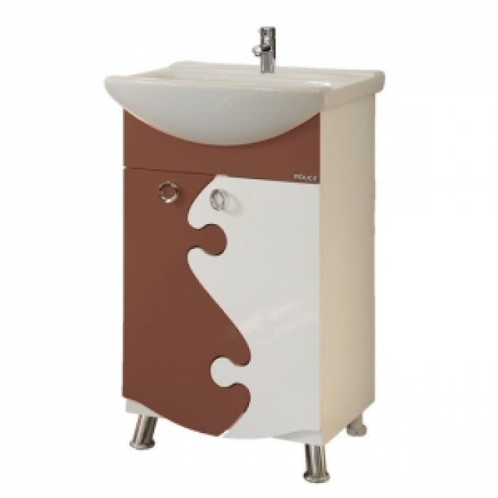 Шкаф за баня  РУЖ ДОЛЕН с умивалник - кафяв