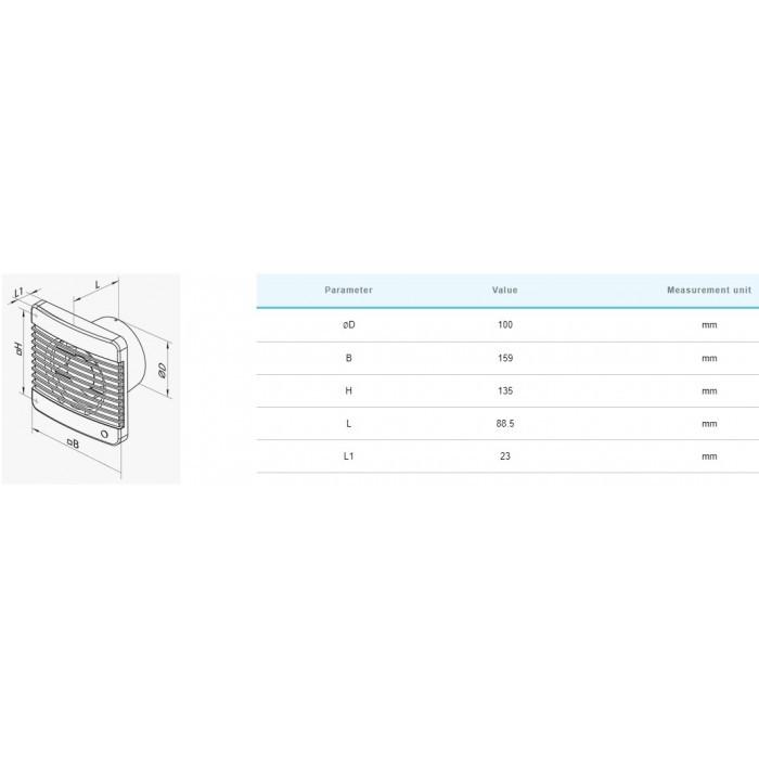 Вентилатор с въженце Vents 100MV / 14W